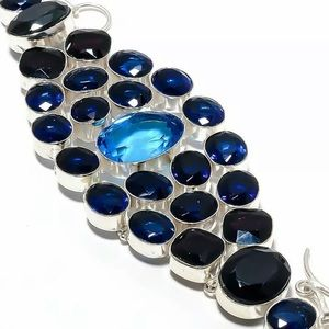Blue Topaz, Tanzanite Gemstone Handmade Jewelry